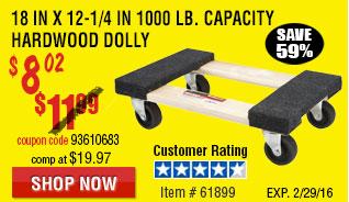 18 In x 12-1/4 In 1000 lb. Capacity Hardwood Dolly