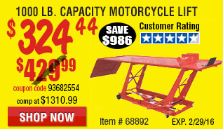 1000 Lb. Capacity Motorcycle Lift