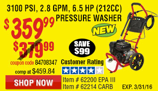 3100 PSI, 2.8 GPM, 6.5 HP (212cc) Pressure Washer