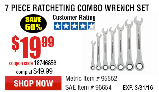 7 Pc Combination Ratcheting Wrench Set