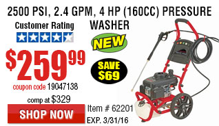 2500 PSI, 2.4 GPM, 4 HP (160cc) Pressure Washer