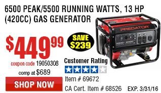 6500 Peak/5500 Running Watts, 13 HP  (420cc) Generato