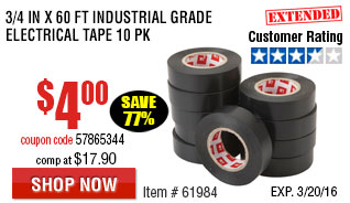 3/4 In x 60 Ft Industrial Grade Electrical Tape 10 Pk
