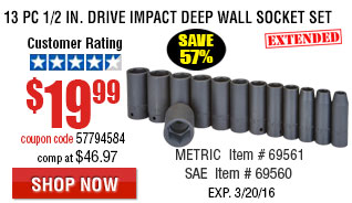 13 Pc 1/2 in. Drive Impact Deep Wall Socket Set