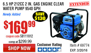 6.5 HP 212cc 2 in. Gas Engine Clear Water Pump 9540 GPH