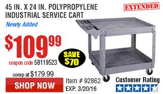 45 In. x 24 In.  Polypropylene Industrial Service Cart