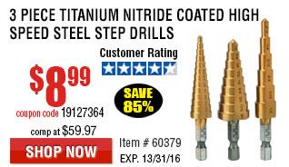 Titanium Nitride Coated High Speed Steel Step Bit Set 3 Pc