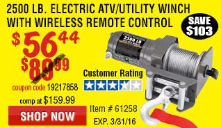 2500 lb. ATV/Utility Electric Winch with Wireless Remote