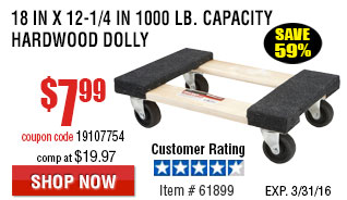 18 In x 12 In. 1000 lb. Capacity Hardwood Dolly
