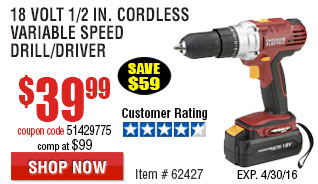 18 Volt 1/2 in. Cordless Variable Speed Drill/Driver