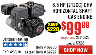 6.5 HP (212cc) OHV Horizontal Shaft Gas Engine