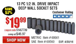 13 Pc 1/2 in. Drive Impact Deep Wall Socket Sets