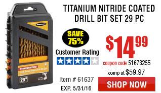 Titanium Nitride Coated Drill Bit Set 29 Pc