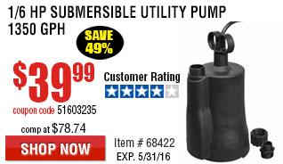 1/6 HP Submersible Utility Pump 1350 GPH