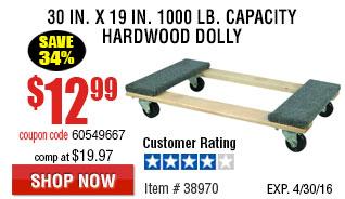 30 In x 19 In 1000 lb. Capacity Hardwood Dolly