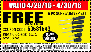 Free Screwdrivers Set