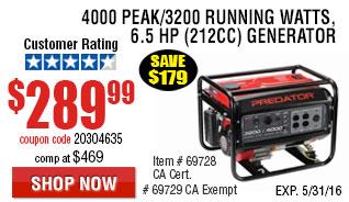 4000 Peak/3200 Running Watts, 6.5 HP  (212cc) Generator