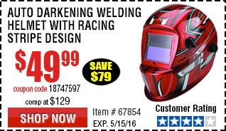 Auto Darkening Welding Helmet with Racing Stripe Design