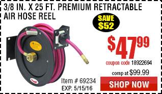 3/8 in. x 25 ft. Premium Retractable Air Hose Reel