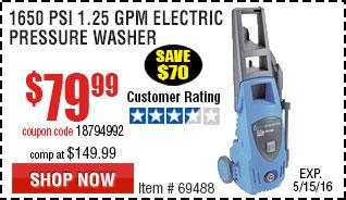 1650 PSI 1.25 GPM Electric Pressure Washer