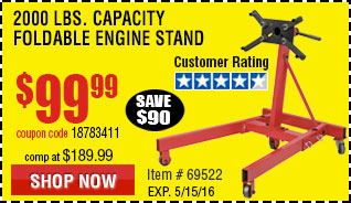 2000 lbs. Capacity Foldable Engine Stand