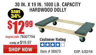 30 In x 19 In 1000 lb. Capacity Hardwood Dolly