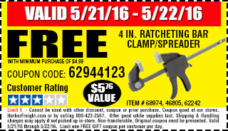 Free gift - 4 in. Ratcheting Bar Clamp/Spreader