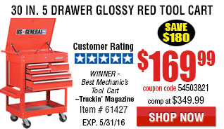 0 in. 5 Drawer Glossy Red Tool Cart