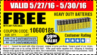 Memorial Day Sale Free Batteries