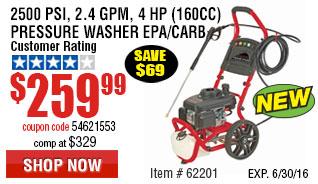 2500 PSI, 2.4 GPM, 4 HP (160cc) Pressure Washer EPA/CARB