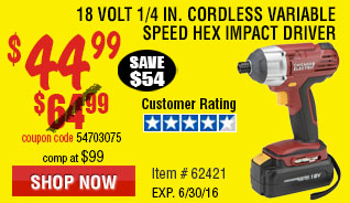18 Volt 1/4 in. Cordless Variable Speed Hex Impact Driver