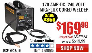 170 Amp-DC, 240 Volt, MIG/Flux Cored Welder