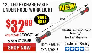 120 LED Rechargeable Under Hood Work Light
