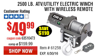 2500 lb. ATV/Utility Electric Winch with Wireless Remote