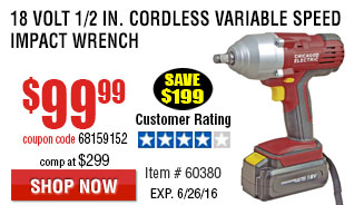 18 Volt 1/2 in. Cordless Variable Speed Impact Wrench