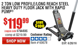 2 ton Low Profile/Long Reach Steel Heavy Duty Floor Jack with Rapid Pump