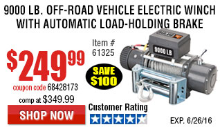 9000 lb. Off-Road Vehicle Electric Winch with Automatic Load-Holding Brake