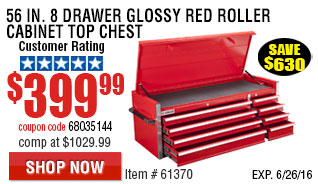 56 in. 8 Drawer Glossy Red Roller Cabinet Top Chest