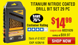 Titanium Nitride Coated Drill Bit Set 29 Pc
