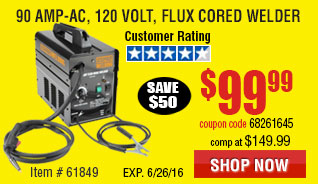90 Amp-AC, 120 Volt, Flux Cored Welder