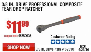 3/8 in. Drive Professional Composite Tear Drop Ratchet