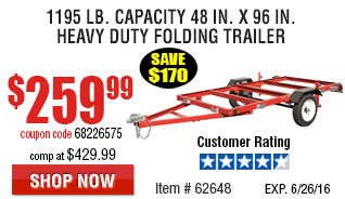 1195 lb. Capacity 48 in. x 96 in. Heavy Duty Folding Trailer