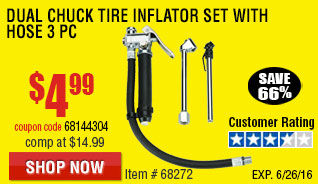 Dual Chuck Tire Inflator Set with Hose 3 Pc