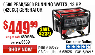 6500 Peak/5500 Running Watts, 13 HP  (420cc) Generator