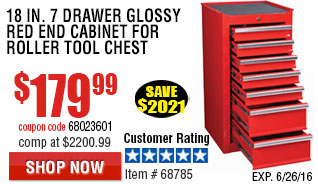 18 in. 7 Drawer Glossy Red End Cabinet For Roller Tool Chest