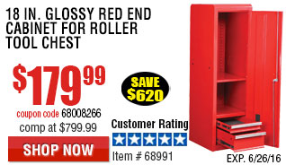 18 in. Glossy Red End Cabinet For Roller Tool Chest