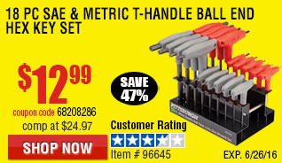 18 Pc SAE & Metric T-Handle Ball End Hex Key Set