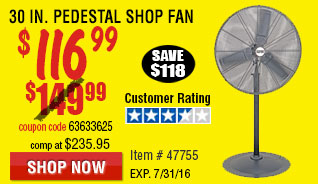 30 in. Pedestal Shop Fan