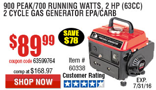 900 Peak/700 Running Watts, 2 HP  (63cc) 2 Cycle Gas Generator