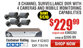 8 Channel Surveillance DVR with 4 Cameras and Mobile Monitoring Capabilities